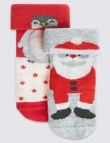 Marks and Spencer 2 Pack Cotton Rich StaySoftTM Santa Socks (0-24 Months)