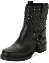 Valentino Rockstud Quilted Leather Moto Boot, Black