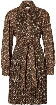 Burberry pleated monogram shirt dress