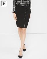 White House Black Market Petite Button-Detail A-Line Skirt