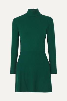 Reformation Maya Ribbed Stretch-tencel Turtleneck Mini Dress - Green
