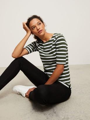 John Lewis & Partners Cotton Stretch Boat Neck Breton T-Shirt, Khaki/White