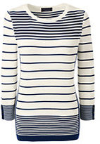Lands' End Women's Petite Supima 3/4 Sleeve Intarsia Sweater-Deep Sea Retro Stripe