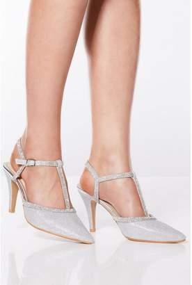 Quiz Silver Shimmer Diamante Heeled Shoes