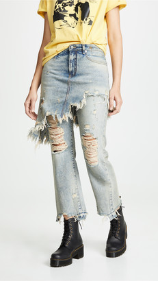 R 13 Double Classic Skirted Jeans