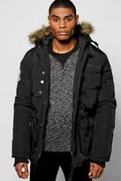 Boohoo Fur Hooded Parka With MA1 Shoulder