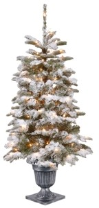 National Tree Company 4' Feel Real Snowy Camden Entrance Tree in Silver Brushed Urn with 100 Clear Lights