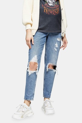 Topshop Womens **Maternity Bleach Under The Bump Rip Mom Tapered Jeans - Bleach Stone