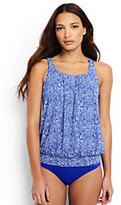 Lands' End Women's Blouson Tankini Top-Deep Sea Etched Scroll