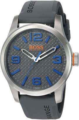 HUGO BOSS Orange Paris Men's Quartz Analogue Classic Grey Silicone Strap 1513349
