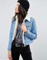 Asos Denim Cropped Jacket in Blue with Borg