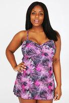 Yours Clothing TUMMY CONTROL Black & Pink Palm Swimdress