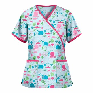 Navahml Classic Short Sleeve V-Neck Uniform Tops for Women Cute Animal Print Working Blouse Classic Work Tunic Tops Casual TShirt Tops with 2 Pockets for Nursing Gifts Mint Green