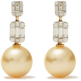 Yoko London 18kt yellow gold Starlight Golden South Sea Pearl and diamond earrings