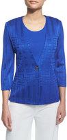 Misook 3/4-Sleeve Woven-Pattern Jacket, True Blue, Plus Size