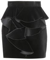 Balmain Ruffled Velvet Miniskirt