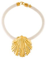 Tory Burch Faux Pearl & Shell Pendant Necklace