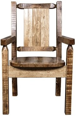Loon Peak Abella Solid Wood Slat Back Arm Chair Color: Brown
