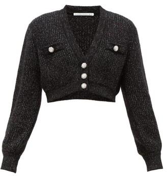 Alessandra Rich Crystal-embellished Cropped Cardigan - Womens - Black