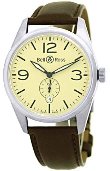 """Bell & Ross BR 123"""" Stainless Steel Vintage Mens Strap Watch"""