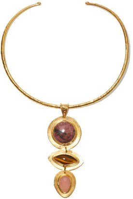 Sylvia Toledano Theodora Tiger's Eye, Rhodonite & Quartz Choker - Gold Multi