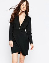 Liquorish Asymmetric Dress with Plunge Front