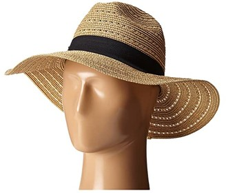 San Diego Hat Company UBM4454 4 Inch Brim Panama Fedora Hat with Gold Lurex Specs (Natural) Caps