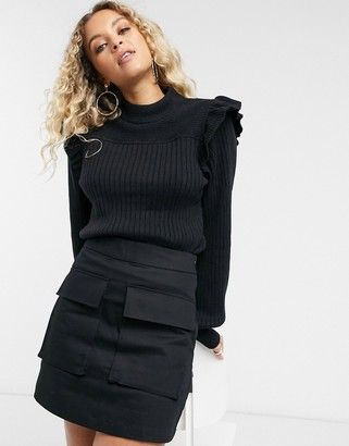 And other stories & frill detail high-neck ribbed jumper in black
