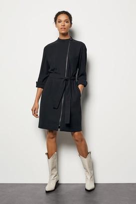 Zip-Front Shirt Dress