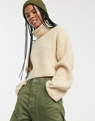 Monki cropped roll neck jumper in light beige