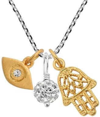 Aeravida Handmade Spiritual Gold Hamsa Hand w Evil Eye Cubic Zirconia Ball Charm Necklace