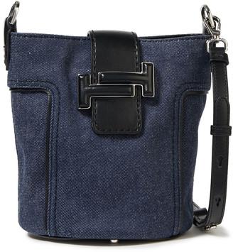 Tod's Leather-trimmed Denim Bucket Bag