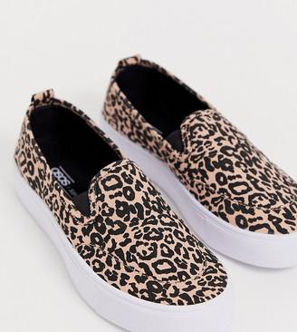 ASOS DESIGN Dexter slip on plimsolls in leopard
