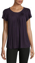 Style And Co. Short Sleeve Pleat Neck Top