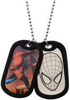 Spiderman FINE JEWELRY Marvel Mens Stainless Steel Double Dog Tag Pendant Necklace