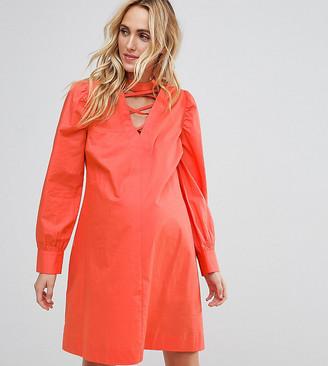Asos PETITE Tie Waist mini dress with Lattice Front-Orange