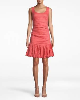 Nicole Miller Solid Cotton Metal Scoop Neck Ruffle Hem Dress