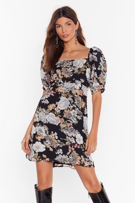 Nasty Gal Womens Feel the Flower Floral Mini Dress - black - 4