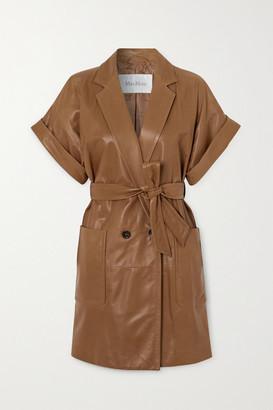 Max Mara Belted Leather Jacket - Camel