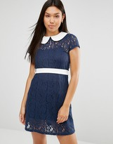 Club L Peter Pan Collar Detail Lace Detail Dress