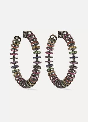Ofira Halo 18-karat Blackened White Gold, Sapphire And Diamond Hoop Earrings