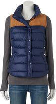 Juniors' SO® Faux-Suede Yoke Puffer Vest