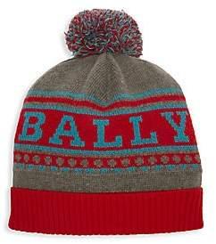 Bally Men's Wool Logo Pom-Pom Beanie