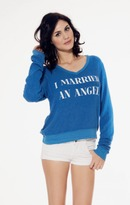 Wildfox Couture I Married An Angel V-Neck Baggy Beach Jumper In Night Owl Blue
