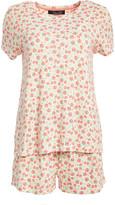 Rene Rofe Women's Sleep Bottoms FLORALDTZY - Ivory & Pink Floral Hacci Pajama Shorts Set - Women