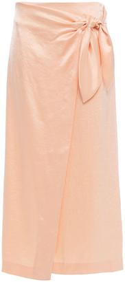Nanushka Amas Washed Crepe De Chine Midi Wrap Skirt