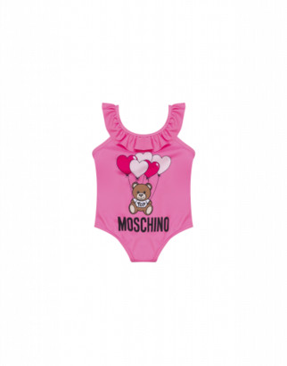 Moschino One-piece Swimsuit Heart Balloons Teddy Bear Unisex Pink Size 2a