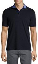 Armani Collezioni Chambray-Collar Polo Shirt, Navy/Blue