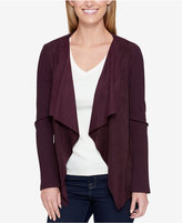 Tommy Hilfiger Ribbed & Faux Suede Draped Cardigan, Created for Macy's