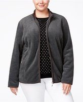 Karen Scott Plus Size Zeroproof Fleece Jacket, Only at Macy's